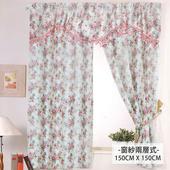 《雲佳》彩風花羽柔紗系列窗簾 寬150x高150cm(藍情紛花)