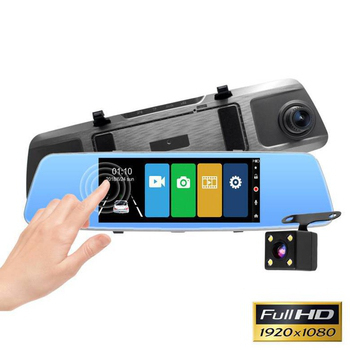 《IS愛思》RV-16XW 7吋極窄邊框後視鏡雙鏡頭行車紀錄器(鋼鐵灰)