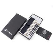 《佶之屋》頂級黑檀木雙節筷組-附便攜式皮套-禮盒版(一入組)