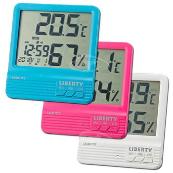 《LIBERTY利百代》簡約居家多功能溫溼度時鐘 LB-8017(藍)