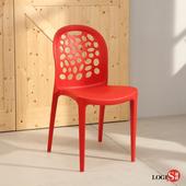 LOGIS邏爵- 創意鏤空 塑膠餐椅 工作椅 休閒椅 書桌椅 北歐風 J011(紅)