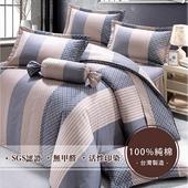 《莫菲思》頂級采風純棉鋪棉兩用被三件式床包 - (單人-3.5X6.2尺,多款任選)(伯爵之鄉(粉藍))