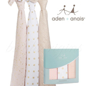 《美國Aden+Anais》純棉金葱包巾(三入裝)(4502清星粉)