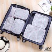 《韓版》高質感280T防水輕旅行收納6件套組(白色火烈鳥)