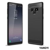 《YANGYI揚邑》Samsung Galaxy Note 9 6.4吋 碳纖維拉絲紋軟殼散熱防震抗摔手機殼(黑)