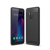 《YANGYI揚邑》HTC U11+拉絲紋碳纖維軟殼散熱防震抗摔手機殼(黑)