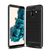 《YANGYI揚邑》Samsung Galaxy A8 2018 拉絲紋碳纖維軟殼散熱防震抗摔手機殼(黑)
