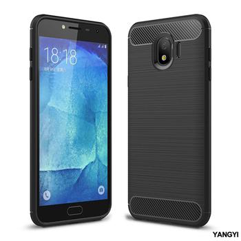 《YANGYI揚邑》Samsung Galaxy J4 拉絲紋碳纖維軟殼散熱防震抗摔手機殼(黑)
