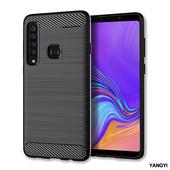 《YANGYI揚邑》Samsung Galaxy A9 2018 拉絲紋碳纖維軟殼散熱防震抗摔手機殼(黑)