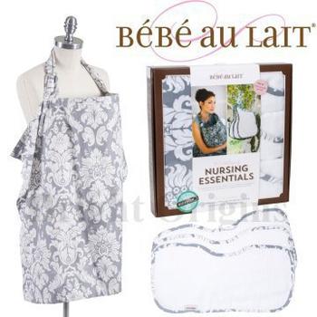 《美國Bebe Au Lait》禮盒組(哺乳巾+3個拍嗝巾)(世紀夏朵銀款)
