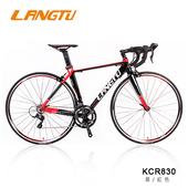 《LANGTU》KCR830 SHIMANO SORA 18速 鋁合金 公路車(入門款首選)(黑/紅色-500mm)