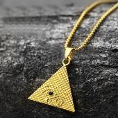 《嘻哈潮牌》阿拉伯金字塔造型金項鍊金 $299
