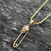 《嘻哈潮牌》金色骷髏頭造型迴紋針項鍊(金)