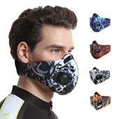 《活力揚邑》多彩風戶外運動機車防風防塵防霾氣閥立體口罩(藍色)