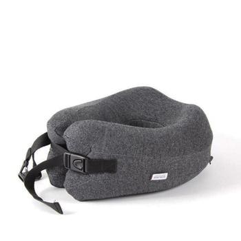 《韓版》專利設計 可捲收納記憶棉U型枕(鐵灰)