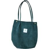 原創燈芯絨布包 韓式單肩包-四色可選墨綠色 $199