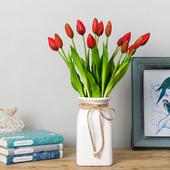《仿真花》手紮鬱金香 長約42cm(紅色)