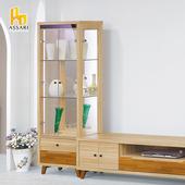 《ASSARI》瑪莎栓木色2尺展示櫃(寬60*深40*高184cm)