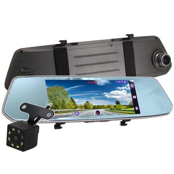 《IS愛思》RV-19XW 7吋2.5D圓弧切角觸控螢幕前後雙鏡頭後視鏡行車紀錄器(磨砂黑)