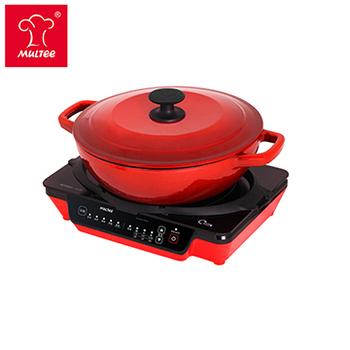 《摩堤MULTEE》萬用鍋爐組(25cm鑄鐵媽媽鍋_漸層紅+A4 IH 紅)