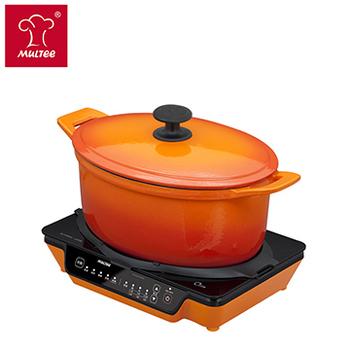 《摩堤MULTEE》大容量鍋爐組(28cm鑄鐵橢圓鍋_橘漸層內白+A4 IH 橘)