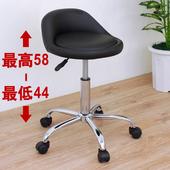 《E-Style》高級皮革椅面(活動輪)工作椅/吧台椅/升降椅/旋轉椅/美髮椅/診療椅/餐椅-黑色(黑色)