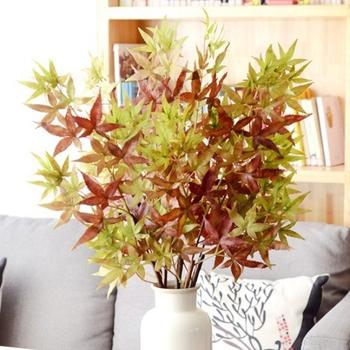 ★結帳現折★《仿真花》美國楓葉 小 約65cm(綠紅色)