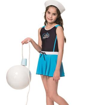 《SARBIS》泡湯 SPA中童連身裙泳裝附泳帽B78802-06(S)