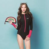 《SAIN SOU》泡湯 SPA 防曬連身三角泳裝附泳帽A91806(M)