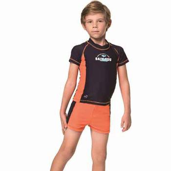 《SAIN SOU》泡湯 SPA兒童兩截式防曬泳裝附泳帽A66805(10)