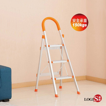 LOGIS-三階折疊收納鋁梯 活動梯 折疊梯 修繕梯 便利梯 【S-103A】(/橘)