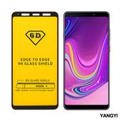 《YANGYI揚邑》Samsung Galaxy A9 2018 全膠滿版二次強化9H鋼化玻璃膜6D防爆保護貼-黑(6D滿版)