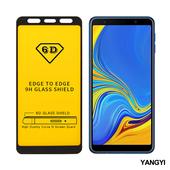 《YANGYI揚邑》Samsung Galaxy A7 2018 全膠滿版二次強化9H鋼化玻璃膜6D防爆保護貼-黑(6D滿版)