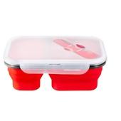 《附餐具》兩格矽膠折疊便當盒 1100ml(紅)