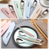 推蓋式小麥不銹鋼餐具組 顏色隨機出貨筷19cm匙19.5cm $79