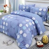 《Victoria》加大四件式純棉被套床包組 -藍點(藍點)
