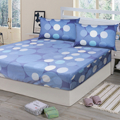 《Victoria》純棉雙人床包+枕套三件組 -藍點(藍點)