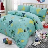 《Victoria》加大四件式純棉被套床包組 -仙人掌(綠)(仙人掌(綠))