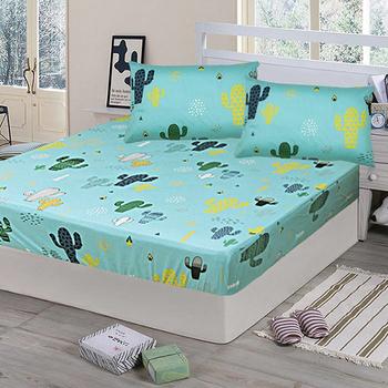 《Victoria》純棉加大床包+枕套三件組 - 仙人掌(綠)(仙人掌(綠))