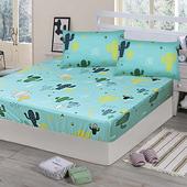 《Victoria》純棉雙人床包+枕套三件組 -仙人掌(綠)(仙人掌(綠))