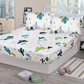 《Victoria》純棉雙人床包+枕套三件組 - 仙人掌(白)(仙人掌(白))