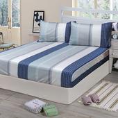 《Victoria》純棉加大床包+枕套三件組-格調(6*6.2尺)