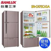 《SANLUX 台灣三洋》475公升三門變頻電冰箱SR-C475CV1A(含拆箱定位)(P香檳紫)