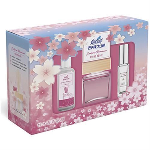 《去味大師》櫻花香氛組-粉戀櫻花(正裝80ml/瓶+補充品90ml+噴霧30m)