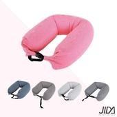 《JIDA》日式簡約微粒子U型護頸枕 65cmX16cm(活力粉)