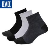 《BVD》雙效抗菌除臭1/2健康男襪-B385(黑10雙)