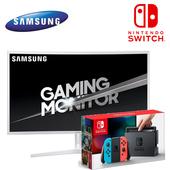 《任天堂》Switch 藍紅手把組 + 三星 C32JG51FDE 32吋螢幕