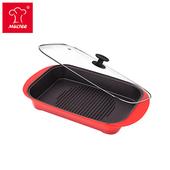 《摩堤MULTEE》饗宴系列-A4L鑄鐵肋深烤盤(紅漸層)