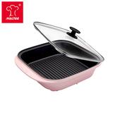 《摩堤MULTEE》饗宴系列-28cm鑄鐵方型肋烤盤(晶鑽粉)