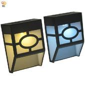 《月陽》歐式太陽能自動光控2LED璧燈台階燈庭園燈超值2入(EU1182)(黃光LED燈)